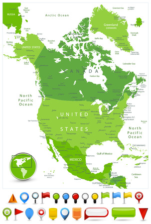 North America Map Spot Green Colors and glossy icons.  Detailed vector illustration of map.