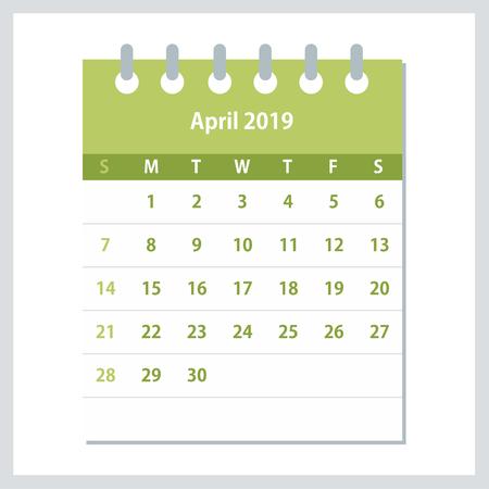 April 2019 Calendar Leaf. Monthly calendar design template. Week starts on Sunday. Business vector illustration.