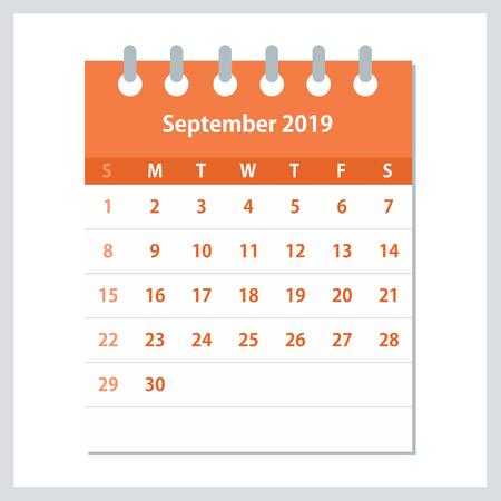 September 2019 Calendar Leaf. Monthly calendar design template. Week starts on Sunday. Business vector illustration.