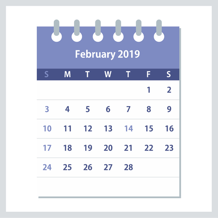 February 2019 Calendar Leaf. Monthly calendar design template. Week starts on Sunday. Business vector illustration. Ilustração