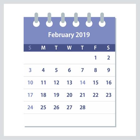 February 2019 Calendar Leaf. Monthly calendar design template. Week starts on Sunday. Business vector illustration. Illustration