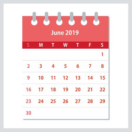 June 2019 Calendar Leaf. Monthly calendar design template. Week starts on Sunday. Business vector illustration.