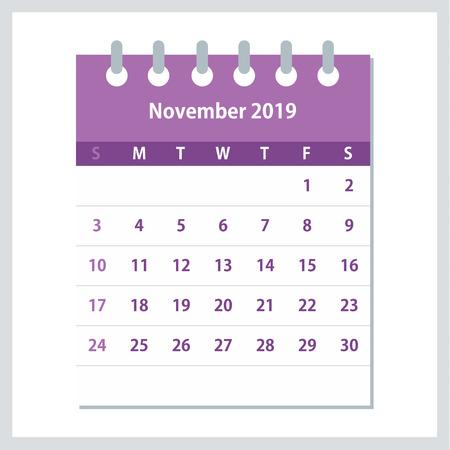 November 2019 Calendar Leaf. Monthly calendar design template. Week starts on Sunday. Business vector illustration.