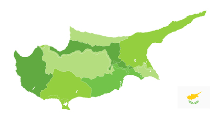 Cyprus Map Spot Green Colors isolated on white. No text. Administrative vector map of Cyprus Spot Green Colors.