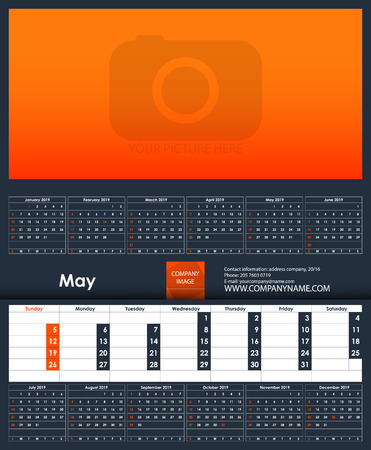 2019 Calendar template. May. Place for your photo. Business Planner Template. Stationery Design. Week starts Sunday. 1 large month on the page and all year little months. Vector Illustration Ilustrace