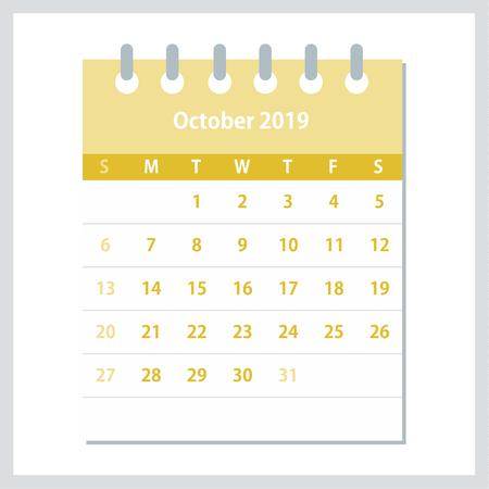 October 2019 Calendar Leaf. Monthly calendar design template. Week starts on Sunday. Business vector illustration. Ilustrace