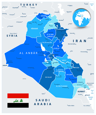 Iraq Political Map in colors of blue with capital Baghdad, national borders, important cities.
