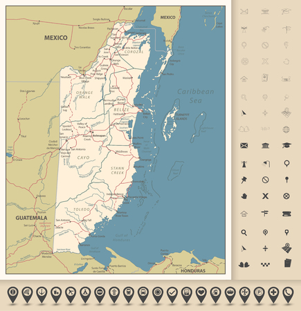 Belize Road Map and icons. Detailed Political map of Belize with the capital Belmopan, national borders, roads, most important cities, rivers and lakes in vintage colors and navigation icons. Vector illustration with english labeling and scale.