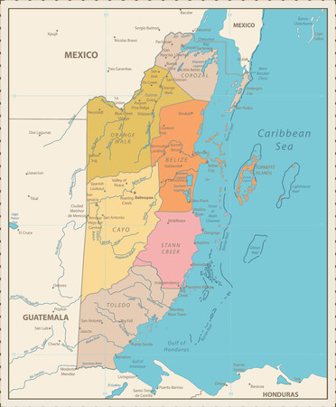 Belize Political Map Vintage Color. Detailed Political map of Belize with the capital Belmopan, national borders, most important cities, rivers and lakes. Vector illustration with english labeling and scale. Ilustrace