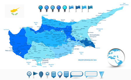 Cyprus Map Blue Spot Colors and glossy map icons. Detail administrative vector map of Cyprus.