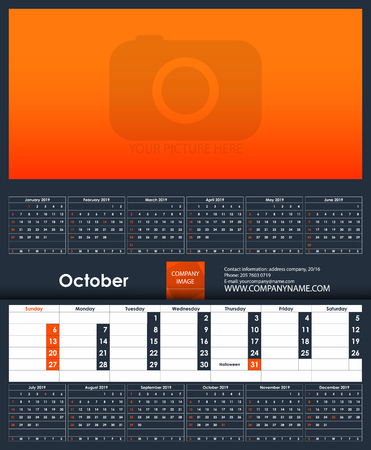 2019 Calendar template. October. Place for your photo. Business Planner Template. Stationery Design. Week starts Sunday. 1 large month on the page and all year little months. Vector Illustration