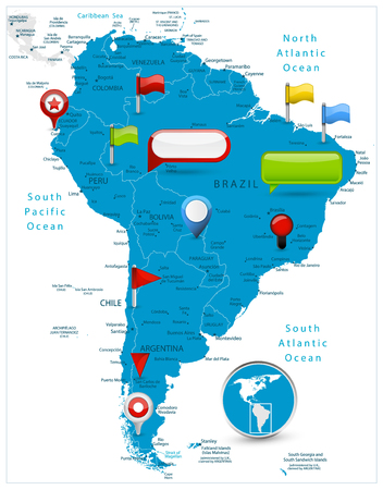 South America Map and glossy icons on map. Detailed vector illustration of map.