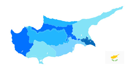Cyprus Political Map in colors of blue. No text. Blank administrative vector map of Cyprus.