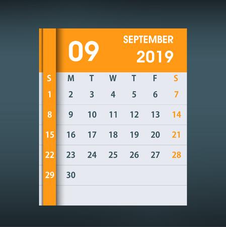 September 2019 Calendar Leaf. Flat design. Monthly calendar design template. Week starts on Sunday. Business vector illustration.