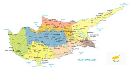 Mappa politica di Cipro isolata su bianco. Dettagliare la mappa vettoriale amministrativa di Cipro.