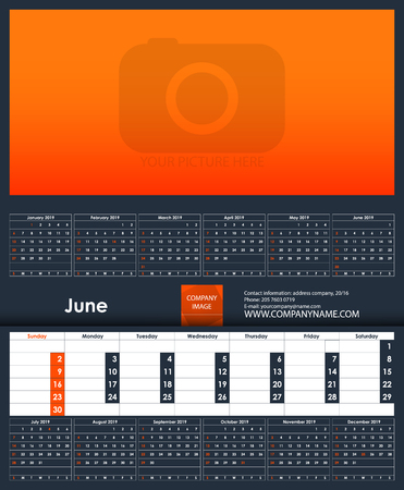 2019 Calendar template. June. Place for your photo. Business Planner Template. Stationery Design. Week starts Sunday. 1 large month on the page and all year little months. Vector Illustration