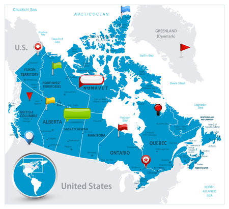 Canada Map and glossy icons on map. Detailed vector illustration of map.
