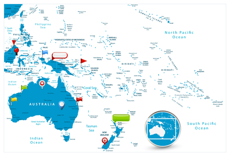 Australia and Oceania Map and glossy icons on map. Detailed vector illustration of map.