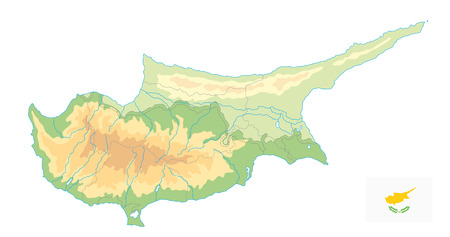 Cyprus Physical Map isolated on white. No text. Detail relief blank vector map of Cyprus.