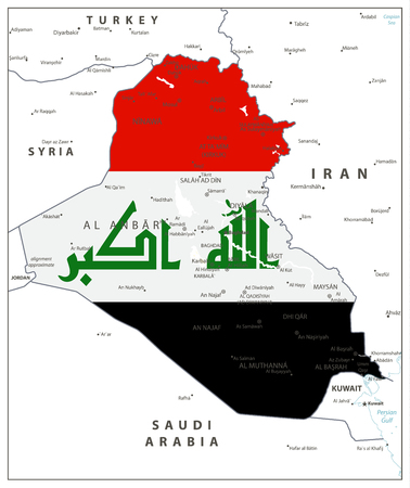 Abstract vector color map of Iraq country colored by national flag. Vector illustration.