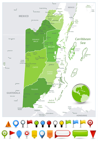 Belize Map Spot Green Colors and glossy icons. Spot Green Colors map of Belize with glossy icons. Vector illustration with english labeling and scale.