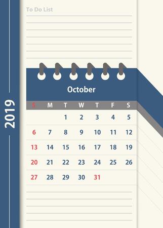 October 2019 calendar. Monthly calendar design template in vintage color and to do list planner. Week starts on Sunday. Business vector illustration.