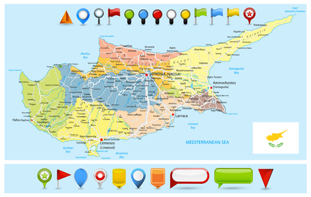 Cyprus Political Map with roads and Glossy Map Icons. Detail administrative vector map of Cyprus with roads and icons. Illustration