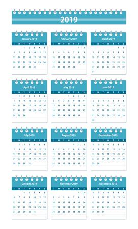 2019 year Calendar Leaves Flat Set. Monthly calendar design template. Week starts on Sunday. Business vector illustration.