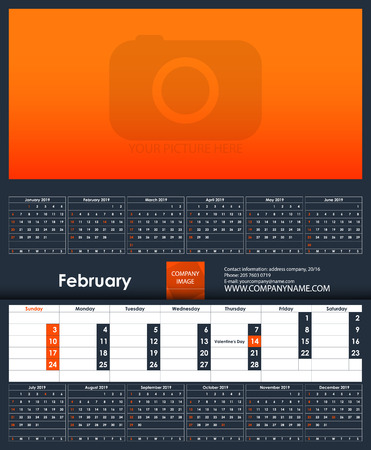 2019 Calendar template. February. Place for your photo. Business Planner Template. Stationery Design. Week starts Sunday. 1 large month on the page and all year little months. Vector Illustration.