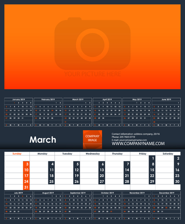 2019 Calendar template. March. Place for your photo. Business Planner Template. Stationery Design. Week starts Sunday. 1 large month on the page and all year little months. Vector Illustration