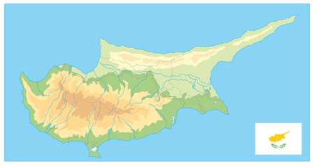 Cyprus Physical Map. No text. Detail relief vector blank map of Cyprus.