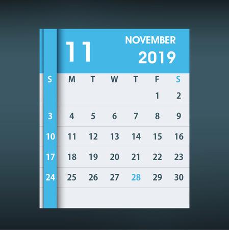 November 2019 Calendar Leaf. Flat design. Monthly calendar design template. Week starts on Sunday. Business vector illustration. Ilustrace