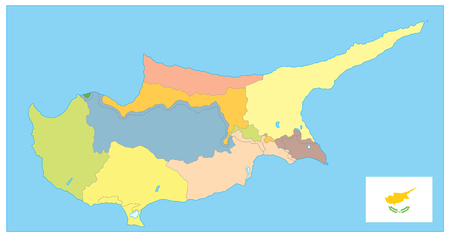 Cyprus Political Map. No text. Detail administrative vector map of Cyprus.