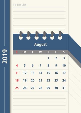 August 2019 calendar. Monthly calendar design template in vintage color and to do list planner. Week starts on Sunday. Business vector illustration.