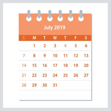 July 2019 Calendar Leaf. Monthly calendar design template. Week starts on Sunday. Business vector illustration.