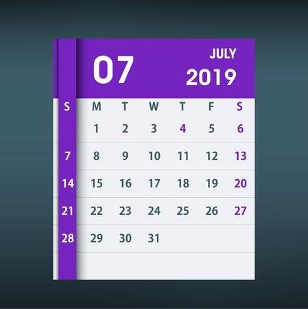 July 2019 Calendar Leaf. Flat design. Monthly calendar design template. Week starts on Sunday. Business vector illustration.