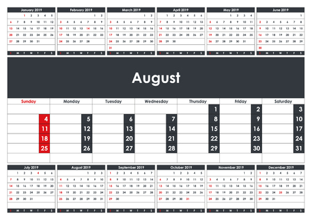 2019 August Calendar Planner. Business Planner Template. A3 size. Stationery Design. Week starts Sunday. 1 large month on the page and all year little months. Vector Illustration