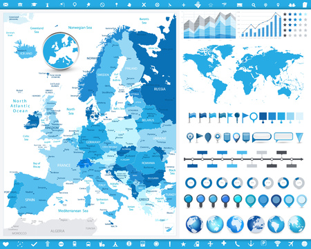 Europe Map and infographic elements. Detailed vector illustration of map.