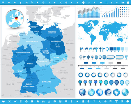 Germany Map and infographic elements. Detailed vector illustration of map.  イラスト・ベクター素材