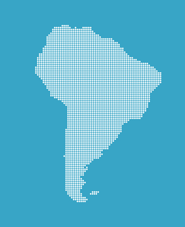 Dotted South America Map Illustration. Vector. Illustration