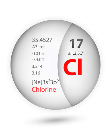 Chlorine icon in badge style. Periodic table element Chlorine icon. One of Chemical signs collection icon can be used for UI/UX on white background.