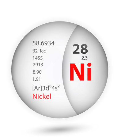 Nickel icon in badge style. Periodic table element Nickel icon. One of Chemical signs collection icon can be used for UI/UX on white background.