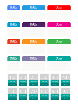 Hello My Name Is... Introduction cards, labels and badges set. Vector illustration. Illustration