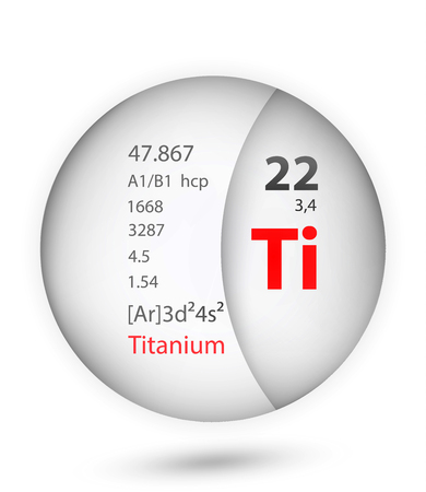 Titanium icon in badge style. Periodic table element Titanium icon. One of Chemical signs collection icon can be used for UIUX on white background.