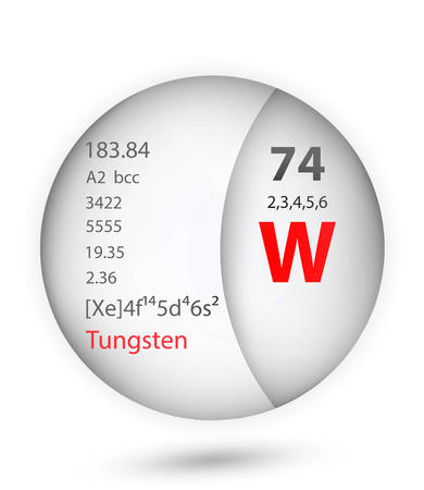 Tungsten icon in badge style. Periodic table element Tungsten icon. One of Chemical signs collection icon can be used for UI/UX on white background.