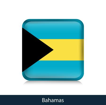 Flag of Bahamas. Square glossy badge. Vector.