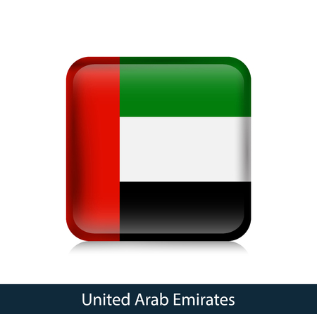 UAE - Square glossy badge. Vector.