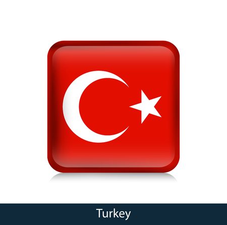 Flag of Turkey. Square glossy badge. Vector.