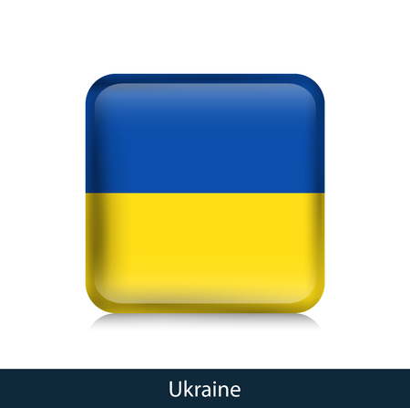 Flag of Ukraine. Square glossy badge. Vector.