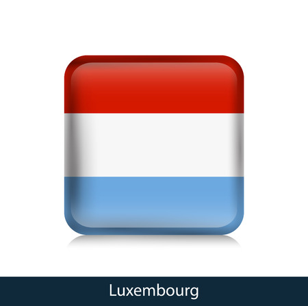 Luxembourg - Square glossy badge. Vector. Ilustração
